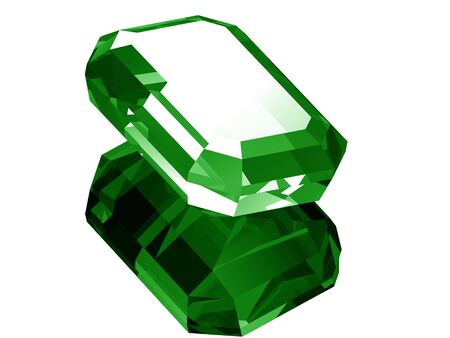 A render of a 3d Emerald isolated on a white background with reflection.  版權商用圖片