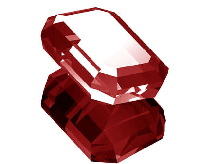A render of a 3d ruby isolated on a white background with reflection.  Banco de Imagens