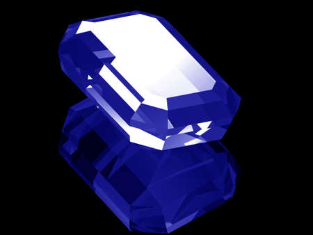 A render of a 3d Sapphire gem isolated on a black background with reflection.  Фото со стока