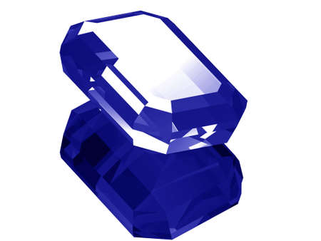 A render of a 3d Sapphire gem isolated on a white background with reflection.
