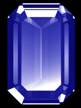 A render of a 3d Sapphire gem isolated on a black background.