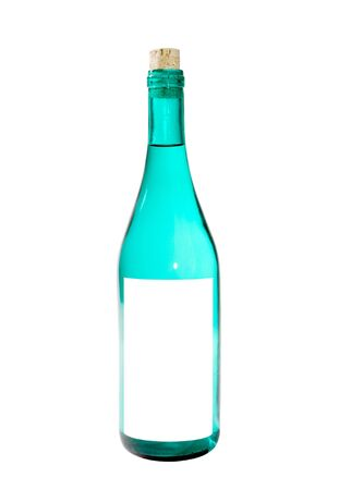 A close up on a bottle isolated on a white background.