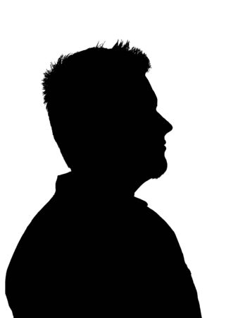 An illustration of a young adult mans silhouette isolated on a white background. This illustration was made from a photo I took.