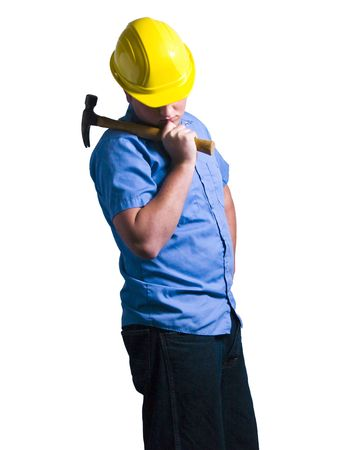 A portrait of a construction worker isolated on a white background. photo