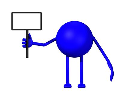 A 3d render of a blue man holding a sign isolated on a white background.  Stok Fotoğraf
