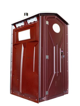mensroom: A close up on a plastic outhouse isolated on a white background.