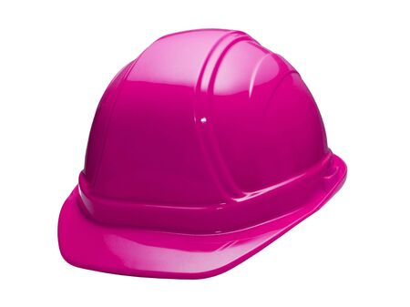 hard: A close up on a pink hard hat isolated on a white background.