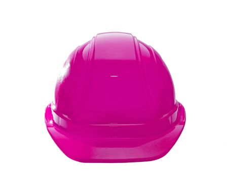 A close up on a pink hard hat isolated on a white background.