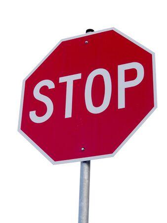 A は一時停止の標識が白い背景で隔離のクローズ アップ。