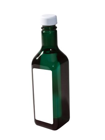 A close up on a bottle isolated on a white background.  photo