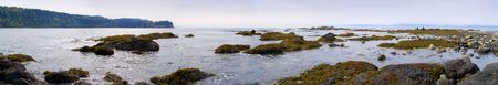 A beautiful rocky beach at Salt Creek Recreation Area in the Pacific Northwest. Extra wide panoramic. 스톡 콘텐츠
