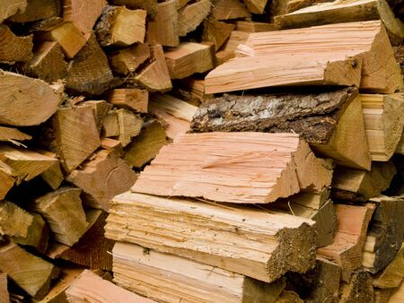 kindling: A close up on a pile of slip fire wood background texture.