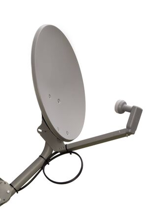 A close up on a satellite dish isolated on a white background. Standard-Bild