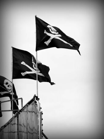 A close up on a pirate flag.