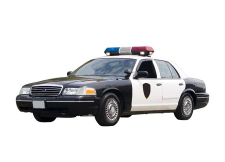 policemen: A police car isolated on a white background.