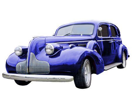 A close up op een blauwe klassieke auto. Stockfoto
