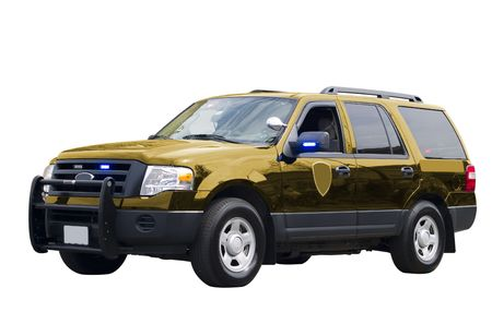 dea: A close up on a government vehicle isolated on a white background.