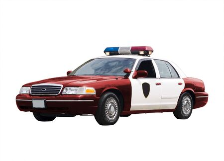 A police car isolated on a white background.