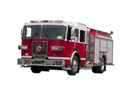 A close up on a firetruck isolated on a white background.  Imagens