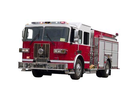 camion pompier: Un gros plan sur un firetruck isolé sur un fond blanc.