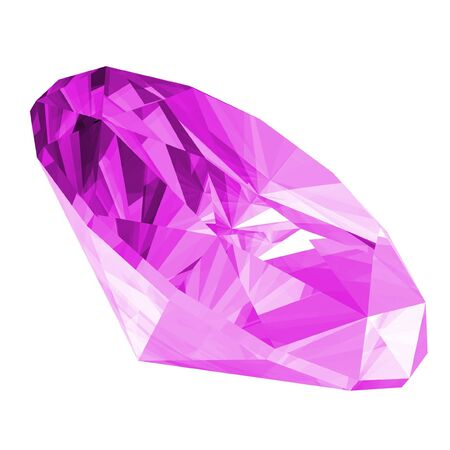 A 3d illustration of a amethyst gem isolated on a white background. Stock Photo