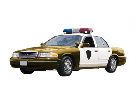 cops: A police car isolated on a white background.