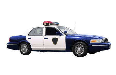 dea: A police car isolated on a white background.