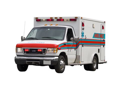 A close up on a paramedic van isolated on a white background.