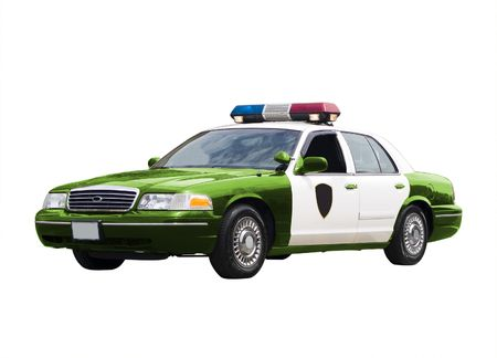 interceptor: A green police car isolated on a white background. Green Police, environment concept. Stock Photo