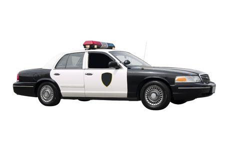polizist: Ein Polizei-Auto isoliert auf wei�em Hintergrund.