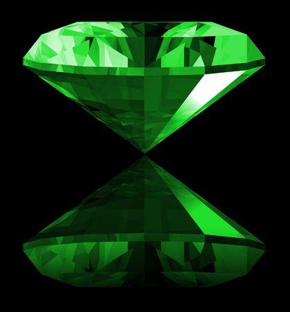 A 3d illustration of a emerald gem isolated on a black background. Banco de Imagens