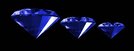 A 3d illustration of a sapphire gem isolated on a black background. Banco de Imagens