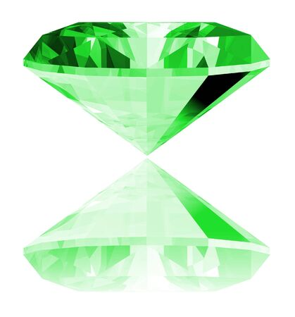 A 3d illustration of a emerald gem isolated on a white background. Banco de Imagens