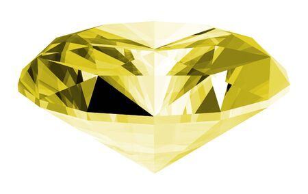 A 3d illustration of a citrine gem isolated on a white background.