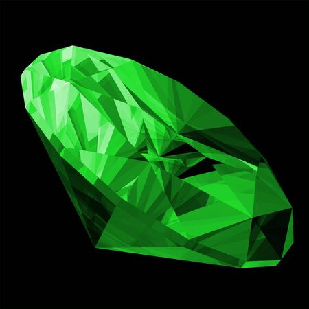 A 3d illustration of a emerald gem isolated on a black background. Standard-Bild