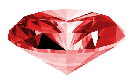 A 3d illustration of a ruby gem isolated on a white background.