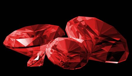 A 3d illustration of a ruby gem isolated on a black background.