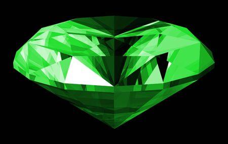 A 3d illustration of a emerald gem isolated on a black background. Reklamní fotografie