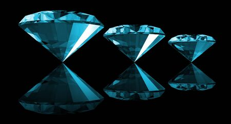 A 3d illustration of a aquamarine gem isolated on a black background.