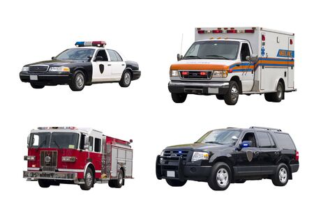 emt: A set of emergency vehicles isolated on a white background.