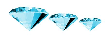 A 3d illustration of a aquamarine gem isolated on a white background.