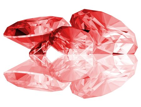 A 3d illustration of Ruby gems isolated on a white background.