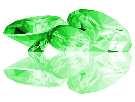A 3d illustration of Emerald gems isolated on a white background. Banco de Imagens