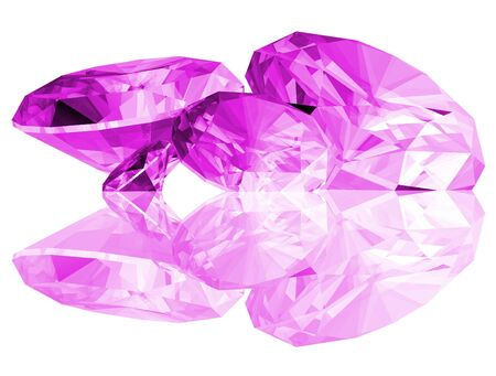 A 3d illustration of amethyst gems isolated on a white background. Stock Photo