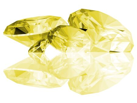 A 3d illustration of Citrine gems isolated on a white background.