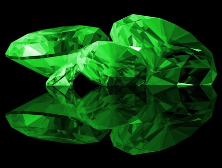 A 3d illustration of Emerald gems isolated on a black background.