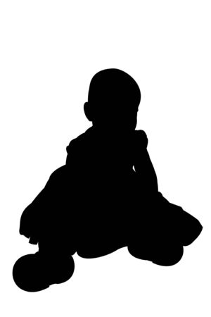 one year old: A silhouette illustration of a cute one year old girl isolated on a white background. Image made from my own photo. Clipping path included for easy editing.