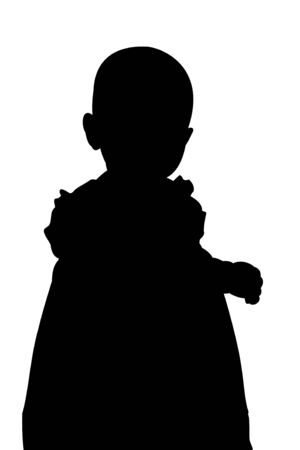 one year old: A silhouette illustration of a cute one year old girl isolated on a white background.