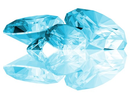 A 3d illustration of Aquamarine gems isolated on a white background.