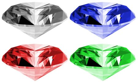 A 3d illustration of gems isolated on a white background. Stock fotó
